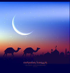 Camels walking in evening with mosque vector