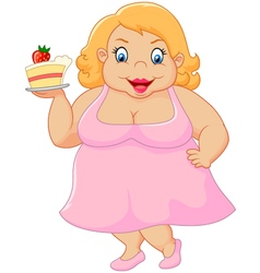 Cartoon fat woman holding cake vector