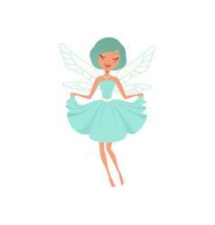 Cartoon smiling fairy girl in blue dress vector