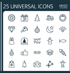 Christmas icons set collection of magic sphere vector