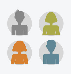 circle color silhouette male and female avatar set vector image vector image