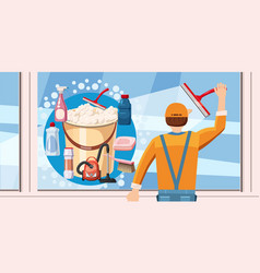 Cleaning window banner horizontal cartoon style vector