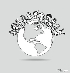Cute children on globe vector image