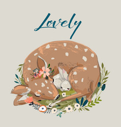 Cute summer deer with hare vector