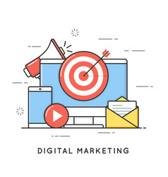 digital marketing internet advertising and vector image