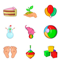 Educational toy icons set cartoon style vector