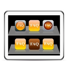 FAQ orange app icons vector image vector image