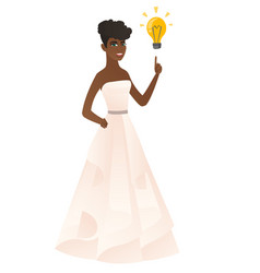 Fiancee pointing at business idea bulb vector