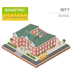 Flat 3d isometric school and city map constructor vector
