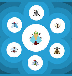 Flat icon buzz set of buzz tiny housefly and vector