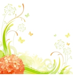 Floral summer background with orange hydrangea vector image vector image