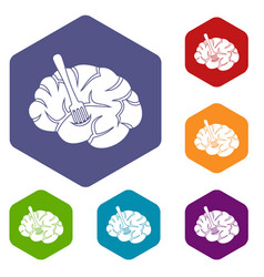 Fork is inserted into the brain icons set hexagon vector