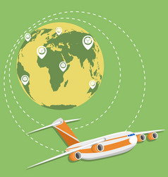 Global network of commercial air cargo trucking vector