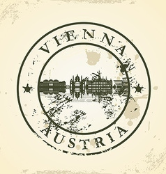 Grunge rubber stamp with vienna austria vector
