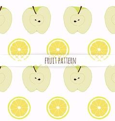 Hand drawn apple and lemon seamless pattern vector