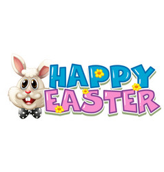 happy easter poster with white bunny vector image
