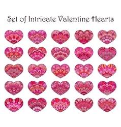 Hearts set flower design vector