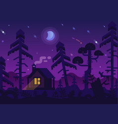 Hunting lodge in the night forest vector