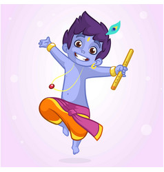 Little cartoon krishna with a flute vector