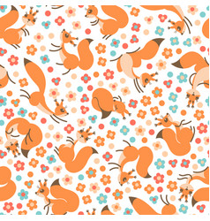 little cute squirrels on flowers meadow seamless vector image vector image
