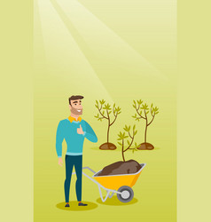 Man pushing wheelbarrow with plant vector