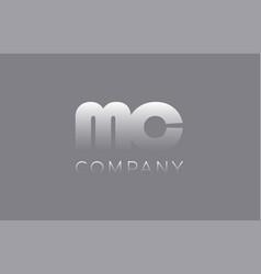 Mc m c pastel blue letter combination logo icon vector