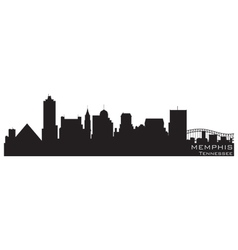 memphis tennessee skyline detailed silhouette vector image