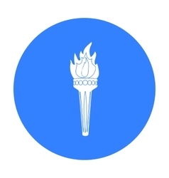 Olympic torch icon in black style isolated on vector