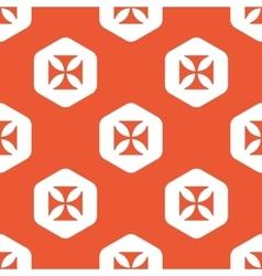 Orange hexagon maltese cross pattern vector