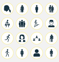 Person icons set collection of scientist member vector