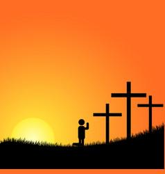 Praying before the cross vector