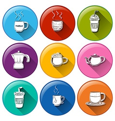 Round icons with coffee and tea vector