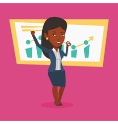 Successful business woman celebrating success vector