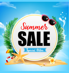 Summer sale on white circle frame with starfish vector