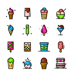 thin line ice cream icons set vector image vector image