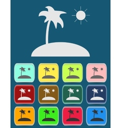 Tropical sea small island - icon isolated vector image