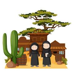 Two muslim girls in western town vector