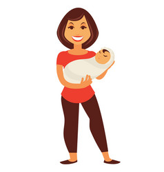 Young mother woman holding newborn baby child vector