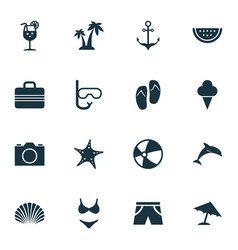 Hot icons set collection of trees video vitamin vector