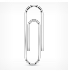 Metallic paperclip on white vector