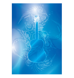 Blue background with guitar and music notes vector