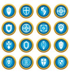 Shields set icons blue circle set vector