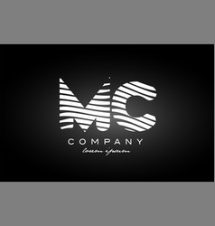 Mc m c letter alphabet logo black white icon vector