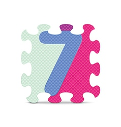 Number 7 written with alphabet puzzle vector