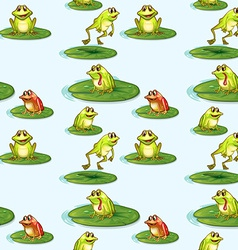 Seamless design of the frogs at the pond vector