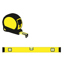 Yellow level construction and tape measure vector