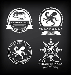 Restaurant menu set of seafood template design vector