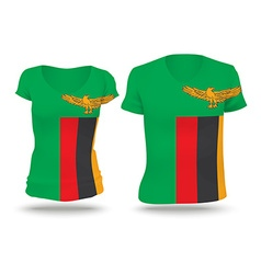 Flag shirt design of zambia vector