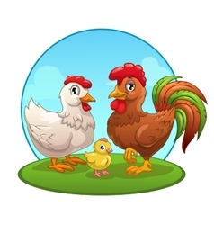 Funny cartoon chicken family vector image