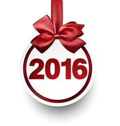 2016 paper bauble with red bow vector image